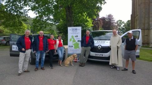 Pilgrimage Support Team departs Pluscarden Abbey