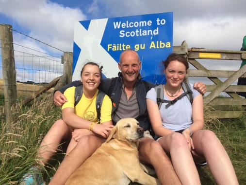 Al Monkman (and dog Rinnes) who are walking all 1300 miles of the pilgrimage, with daughters Sarah and Joanne who walked Week 10