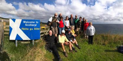 Pilgrimage arrives at the Scottish border