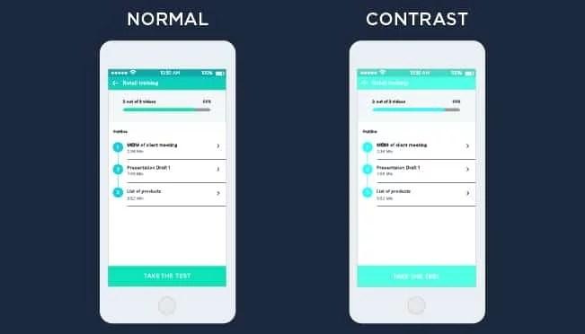 contrast app design