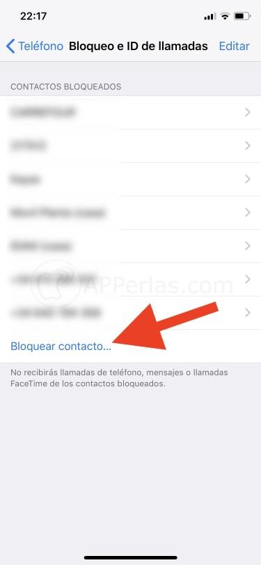 Opción de bloquear contactos en iOS