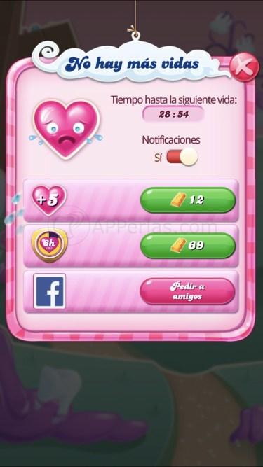 Tiempo de espera para vidas en Candy Crush