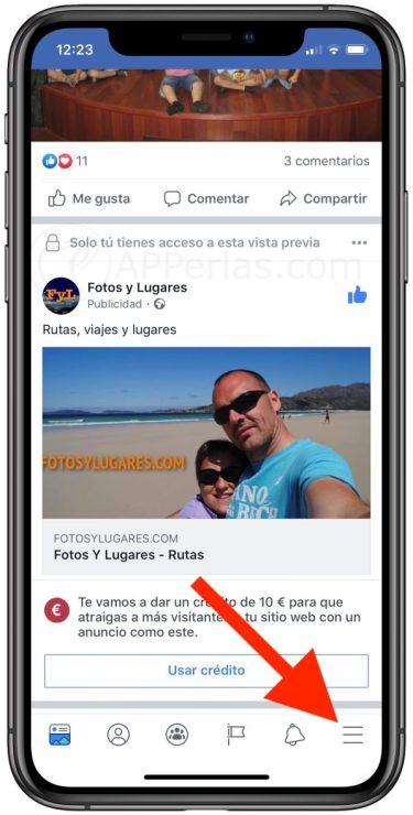 Accede a la configuración de Facebook