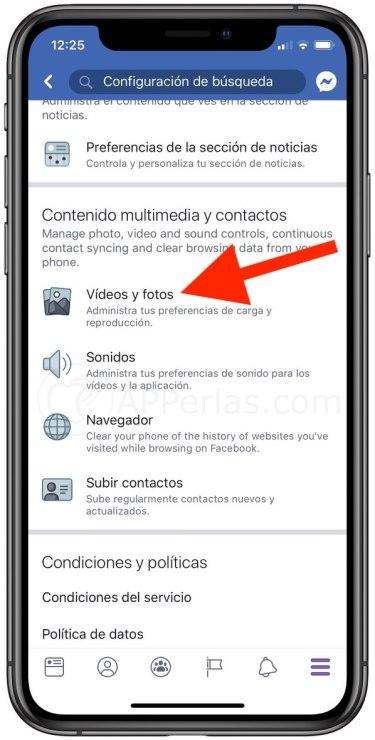 Opciones de configuración de vídeos y fotos