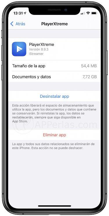 Opción de eliminar app en iOS