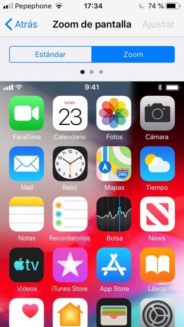Visualización de pantalla con iconos más grandes