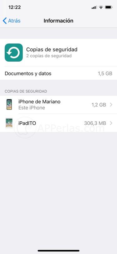 Dispositivos con copia de seguridad en iCloud