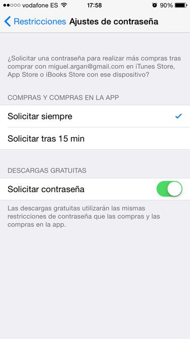 contraseña en app store 4