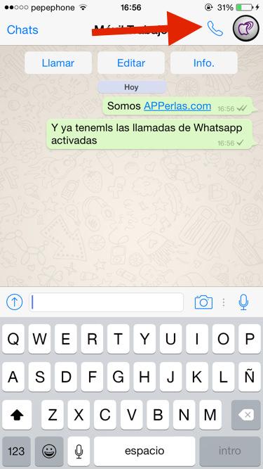 botón llamadas de Whatsapp