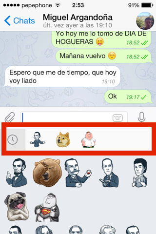Telegram 3.0 pestañas