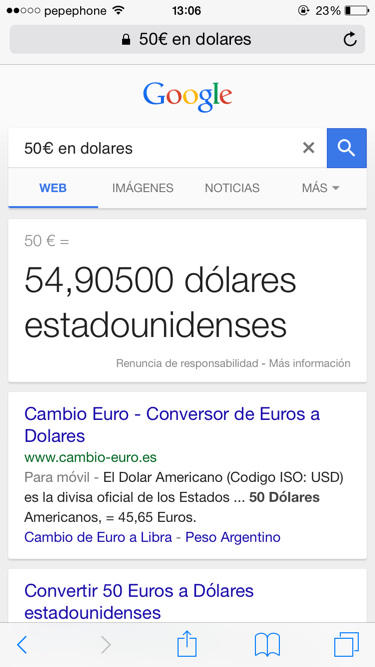 Funciones de google conversor