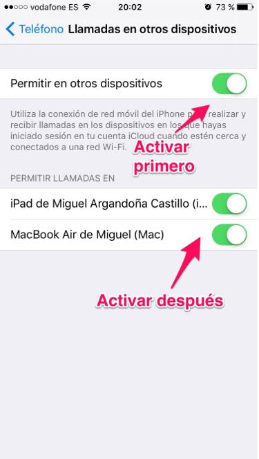 Llamadas en el iPhone 3