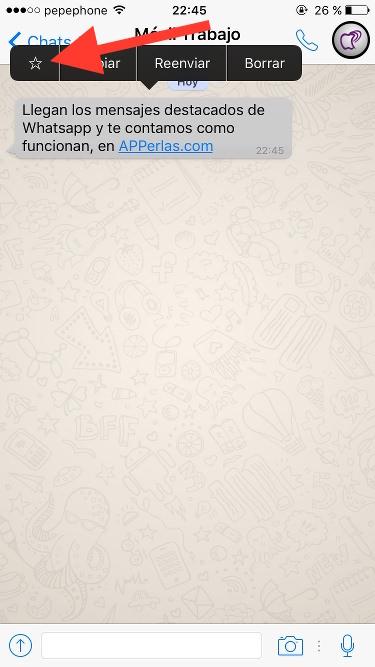 Mensajes destacados de Whatsapp iPhone