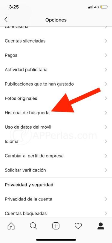 Acceder al historial de búsqueda de Instagram