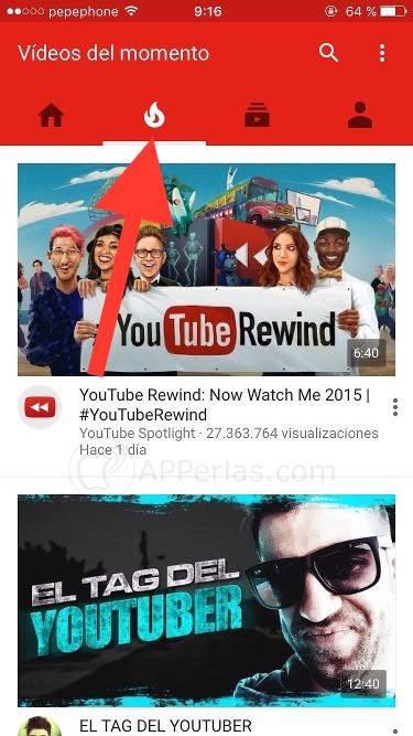 Vídeos del momento de Youtube