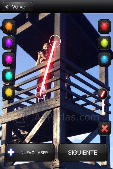 Espada láser en foto