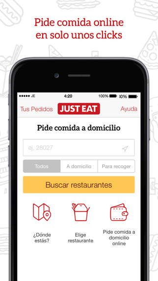 app de comida y bebida Just eat