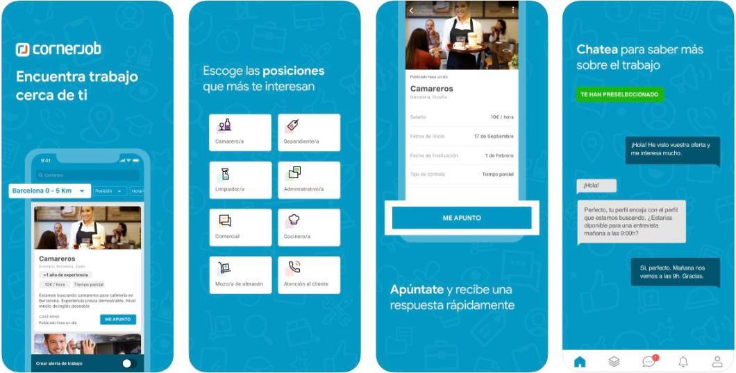 Encuentra empleo con la app Cornerjob