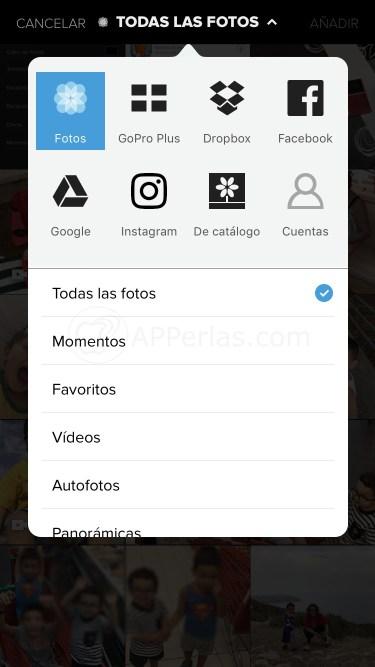 Elige fotos y vídeos