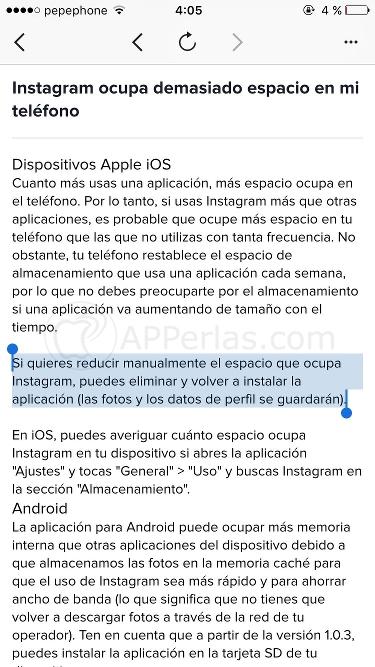 Libera espacio de almacenamiento en iOS