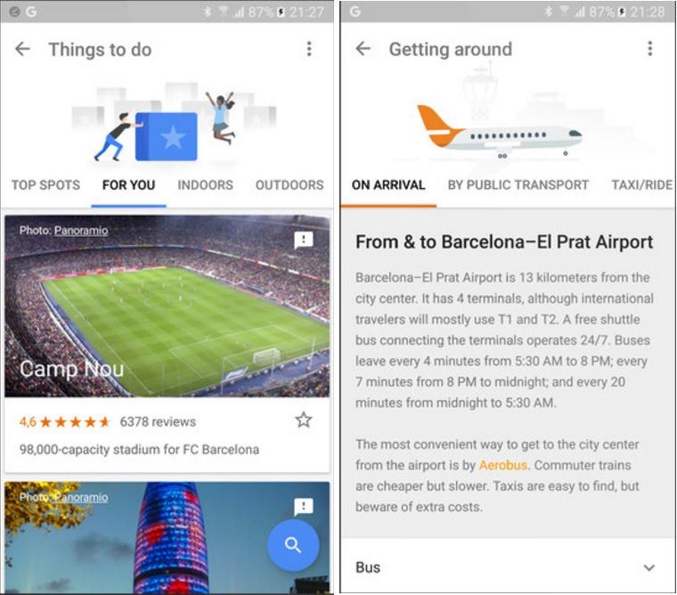Google trips interfaz