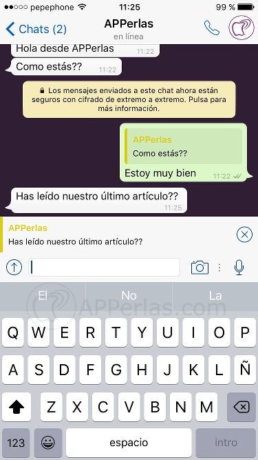 Novedades Whatsapp escribe citando un mensaje