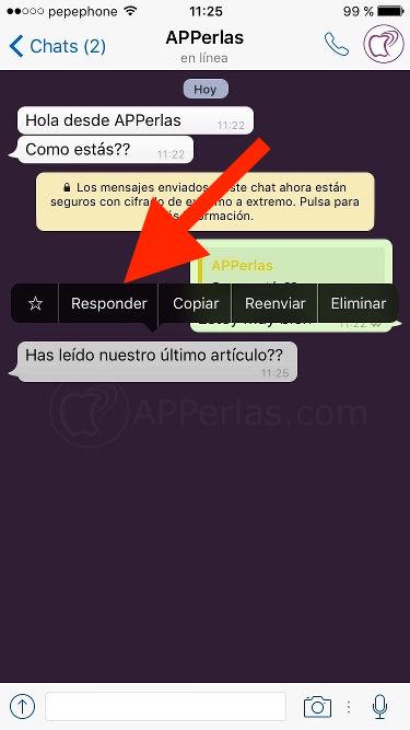 Novedades Whatsapp citar mensajes iPhone