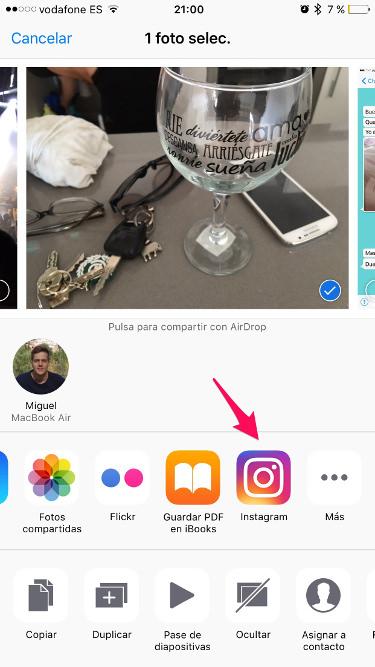Instagram desde el carrete del iPhone 2