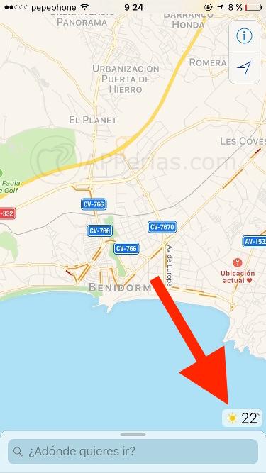 Información del tiempo en Mapas de iOS 10