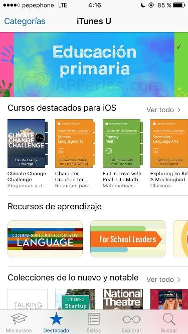 Sección educativa en iTunes U