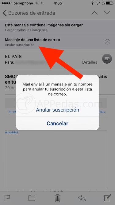Suscripciones. Detalles de iOS 10