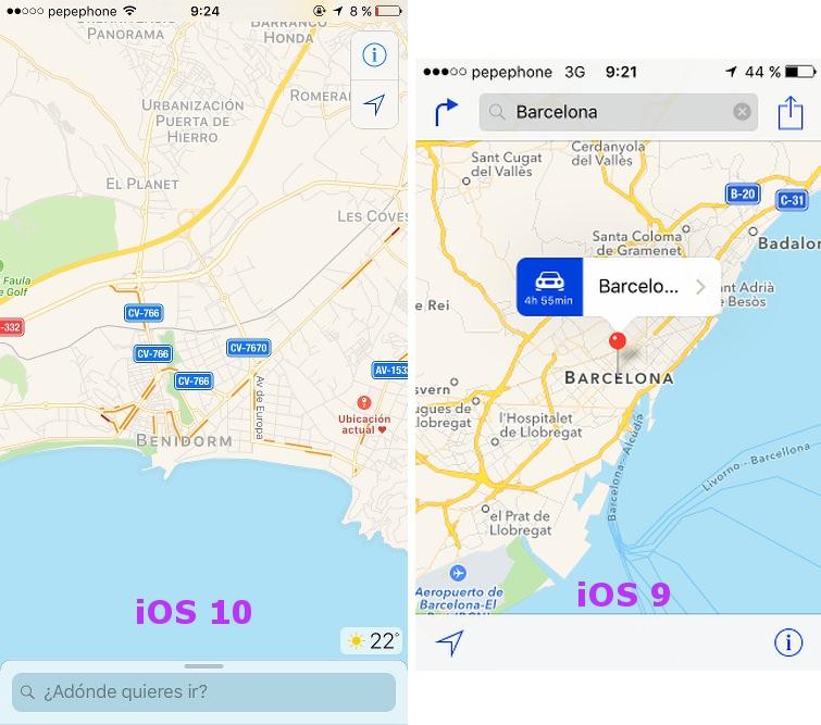Comparación de mapas de iOS 10 y iOS 9