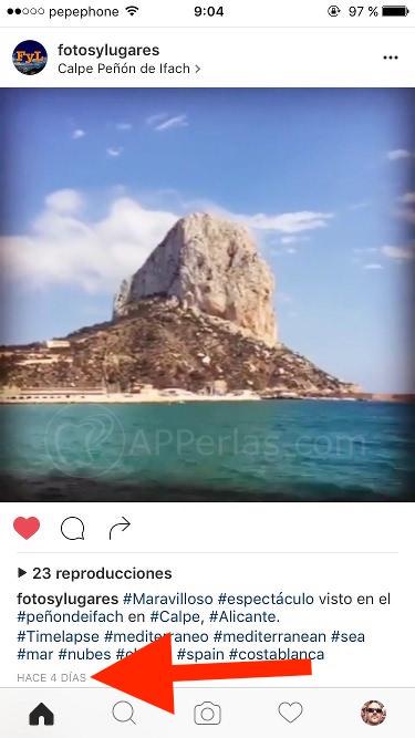 Algoritmo de Instagram fecha de publicación