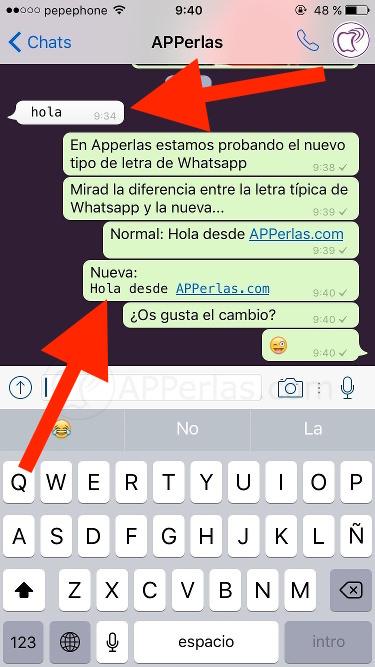 Cambiar la letra en Whatsapp