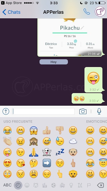 Whatsapp 2.16.7 emoticonos