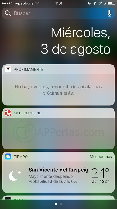 Beta 4 de iOS 10 fecha en Widgets