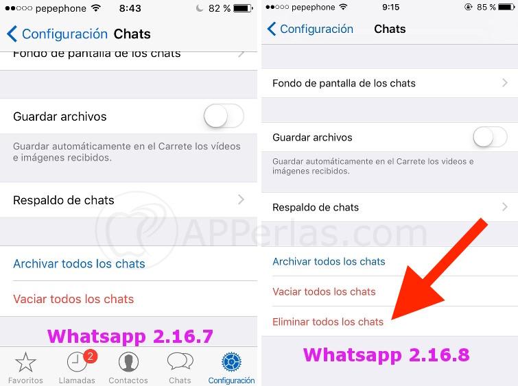 Whatsapp 2.16.8 novedad