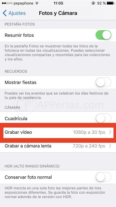 Grabar vídeos en 4K