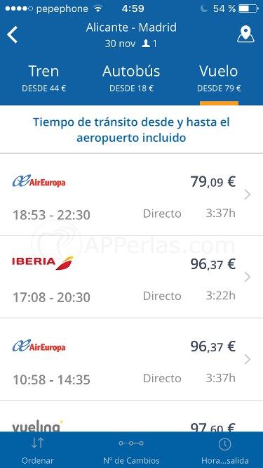 Muestrar y comparar precios para viajar