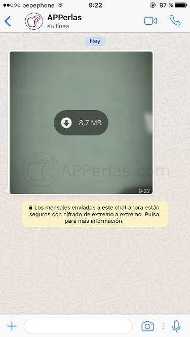 Vídeos en streaming de Whatsapp iPhone