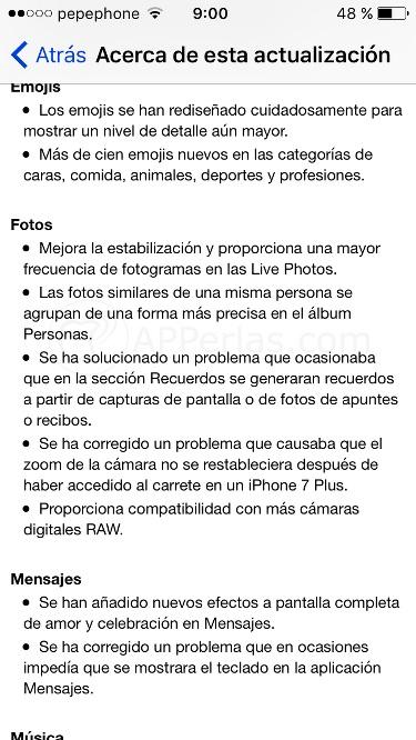 Novedades de iOS 10.2