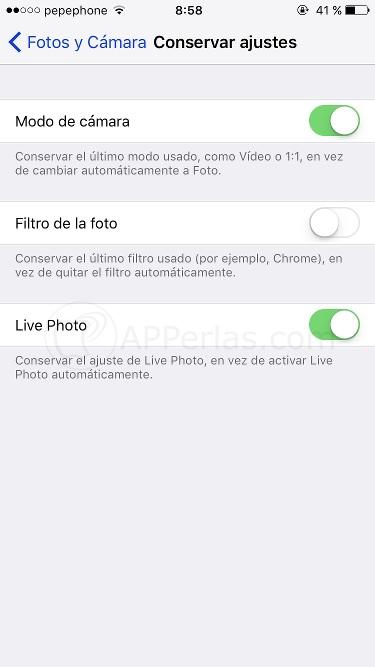 Ajustes de cámara en iOS 10.2