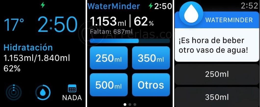 Waterminder app hidratación Apple Watch