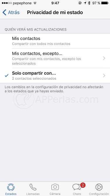 Privacidad de estados de Whatsapp