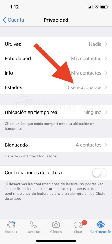 Desactivar estados de Whatsapp