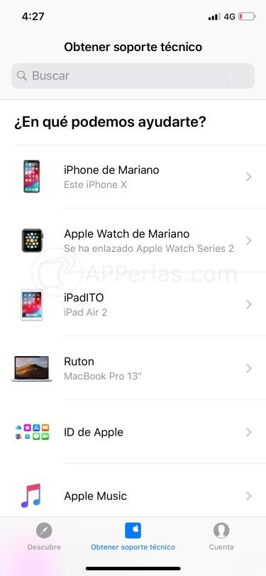 Listado de dispositivos y servicios de Apple