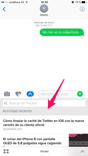 Pocket en iMessage 2