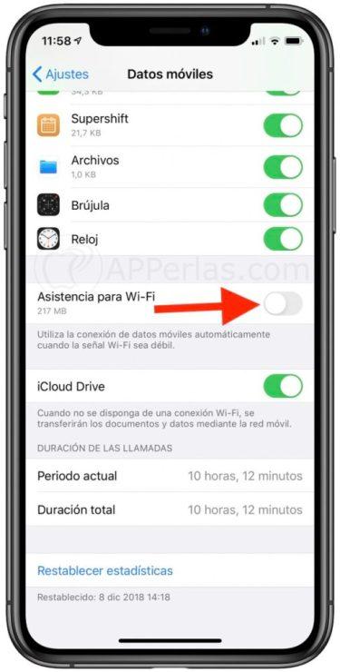 Desactiva esta opción para ahorrar datos móviles