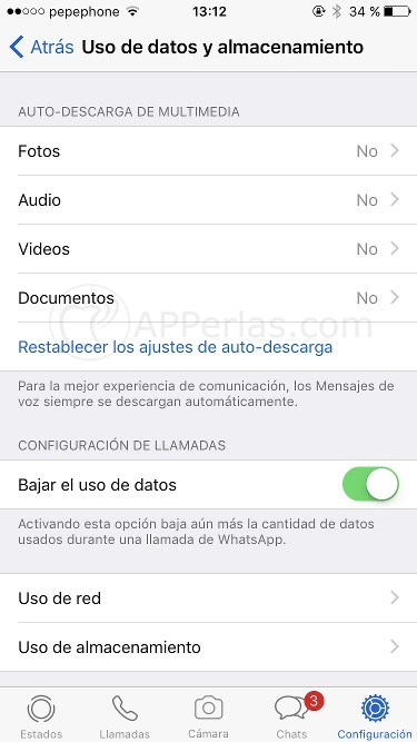 Streaming de Whatsapp no afecta al consumo de datos