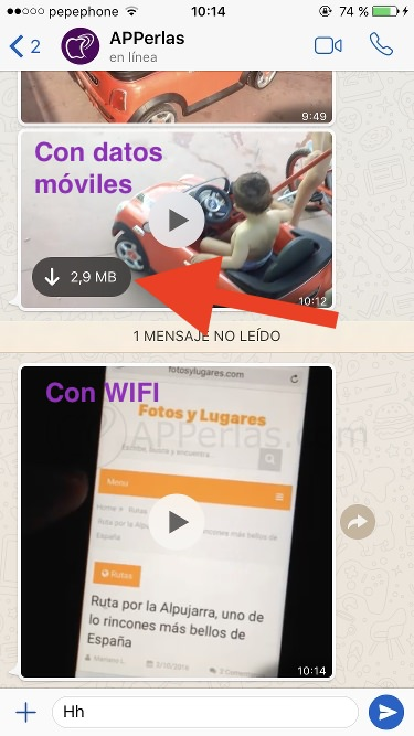 Streaming de vídeos en Whatsapp